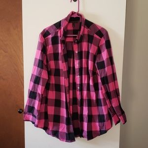 Pink and black plaid button up shirt